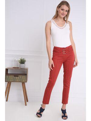 Pantalon chic avec double ceinture orange fonce femme