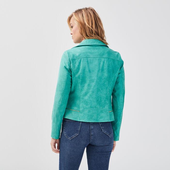 Veste esprit motard zippée vert menthe femme