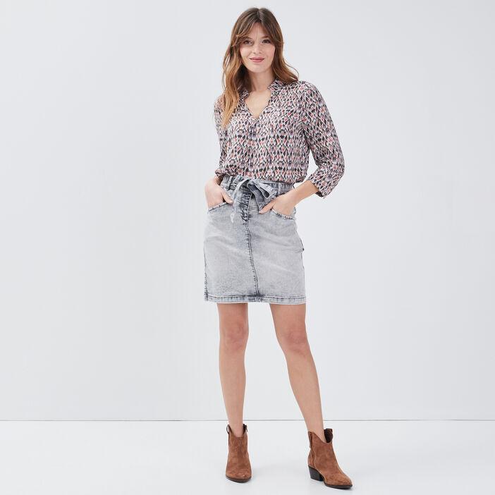 Jupe droite ceinturée en jean denim snow gris femme