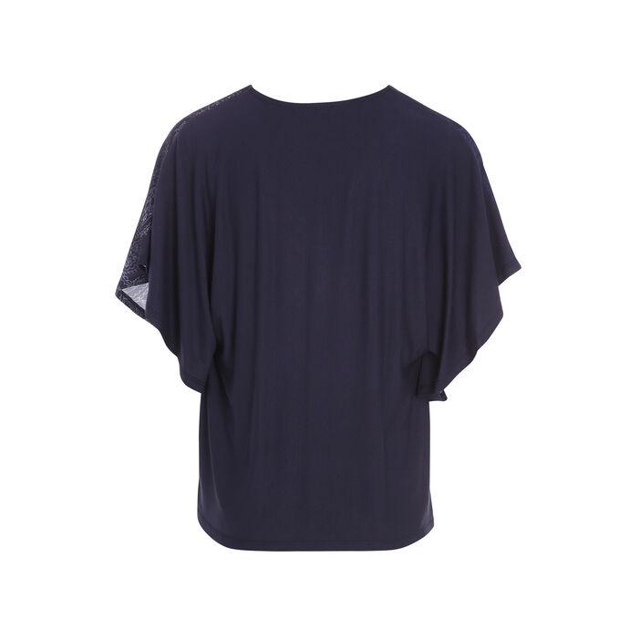 T-shirt col V imprimé avant bleu femme