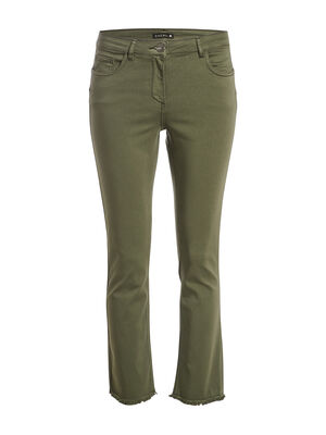 Pantalon evase taille basculee vert kaki femme