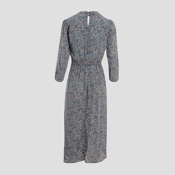 Robe longue évasée manches 3/4 bleu marine femme