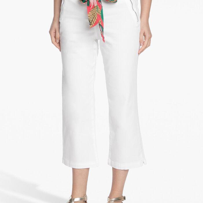 Pantalon avec ceinture foulard imprimée blanc femme