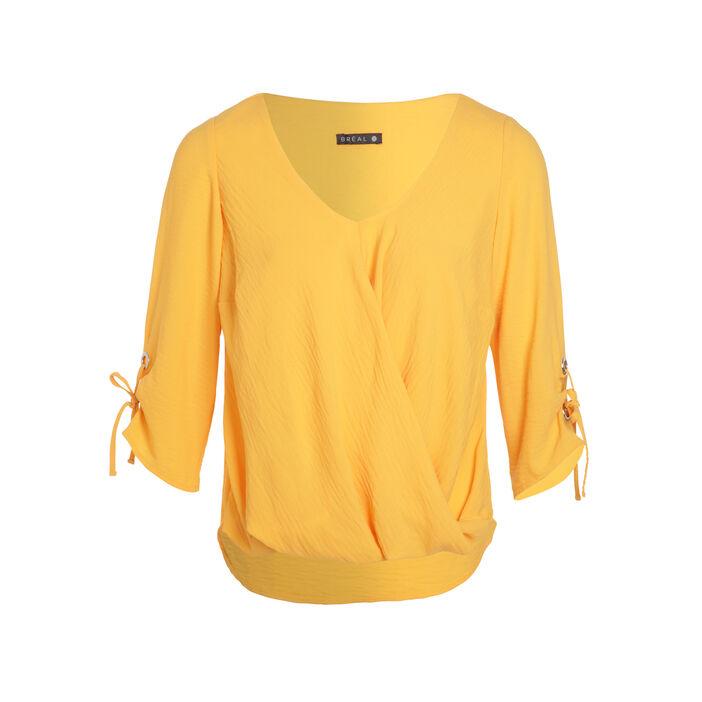 Blouse manches 3/4 drapé jaune or femme