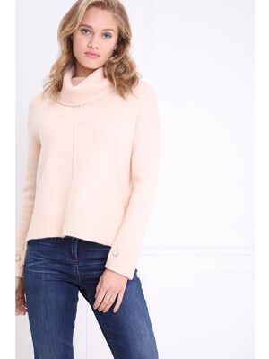 Pull col boule volume boite rose poudree femme