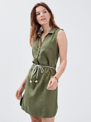 Robe droite ceinturee vert kaki femme