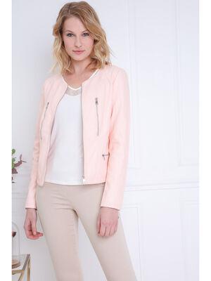 Veste zippee rose clair femme