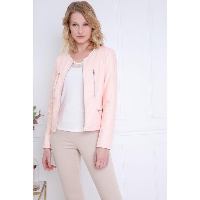 3e914e961b0c2a Veste zippée rose clair femme   Bréal