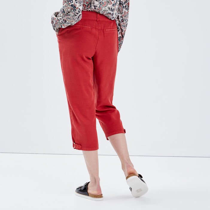 Pantacourt ample taille haute rouge foncé femme