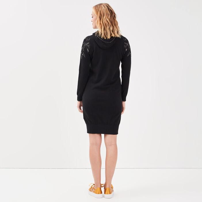 Robe pull droite à capuche noir femme