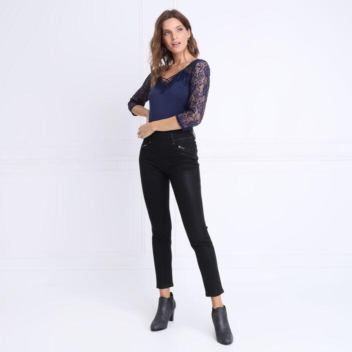 Pantalon tregging enduit noir femme