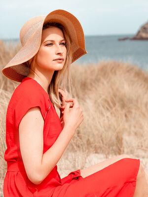 Robe cintree col V rouge femme