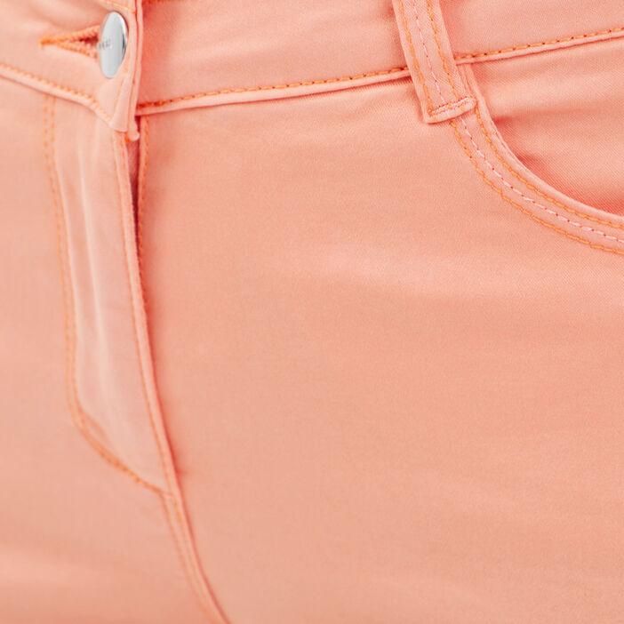 Pantacourt ajusté taille haute rose clair femme