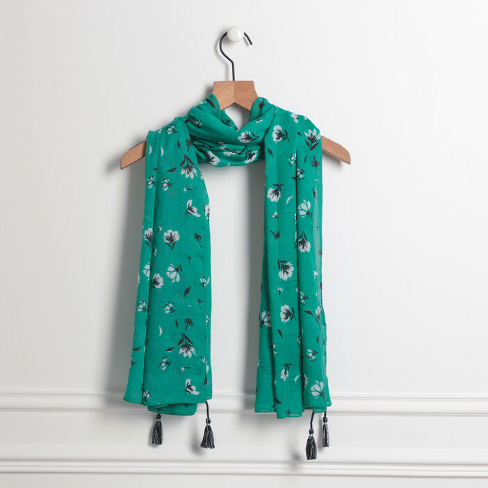 Foulard rectangulaire vert menthe femme