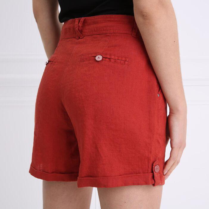 Short droit taille standard orange foncé femme