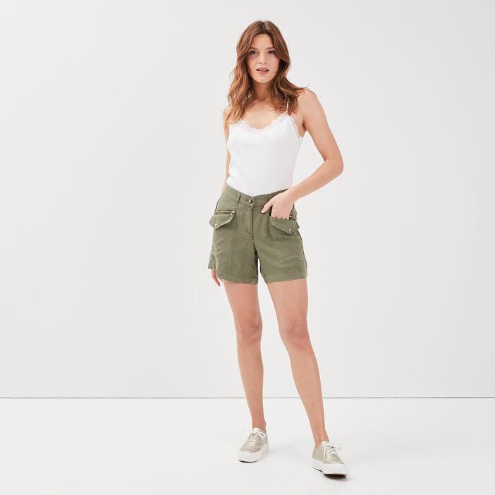 Short droit taille basculée vert kaki femme