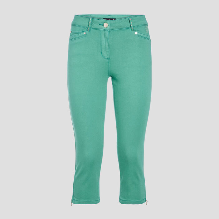 Pantacourt slim vert femme