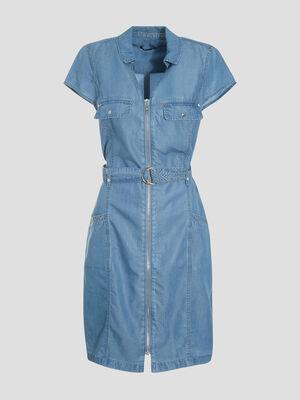 Robe droite zippee en jean denim double stone femme