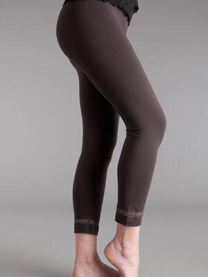 Legging avec petite bande elastique marron fonce femm