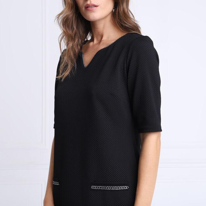 Robe droite col tunisien noir femme
