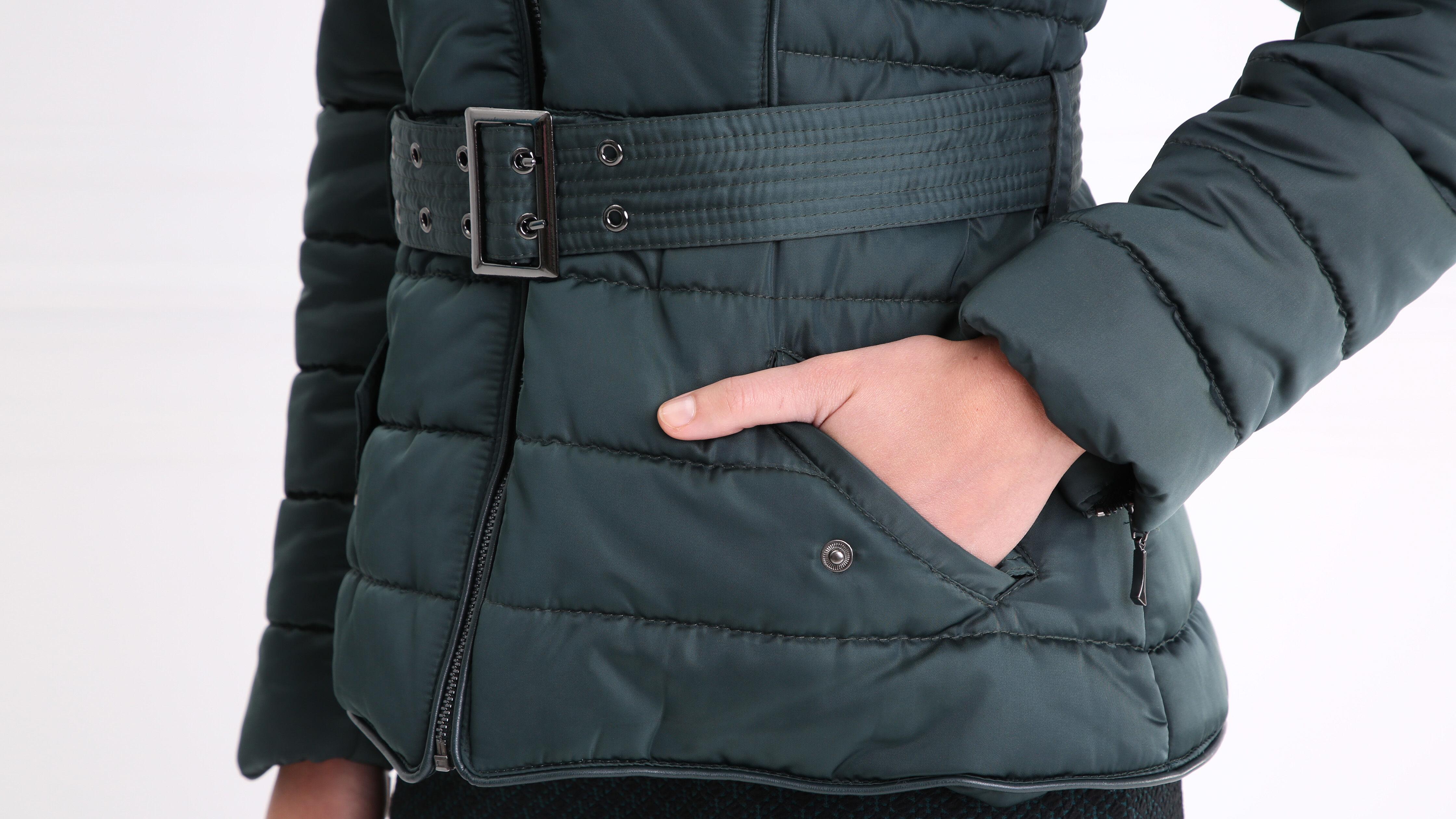 Doudoune courte ceinturée vert canard femme   Bréal