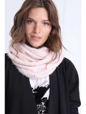 charpe snood a perles sable femme