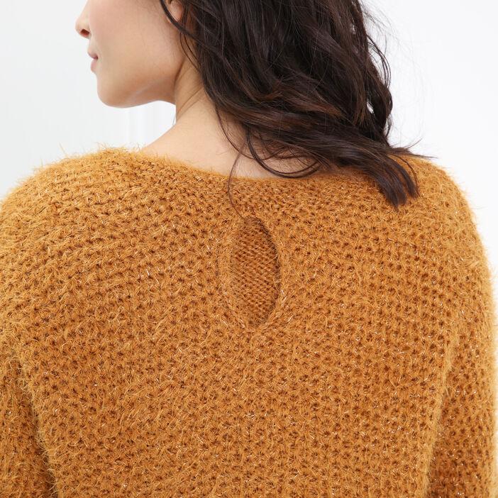 Pull shaggy cropped bi matière jaune or femme