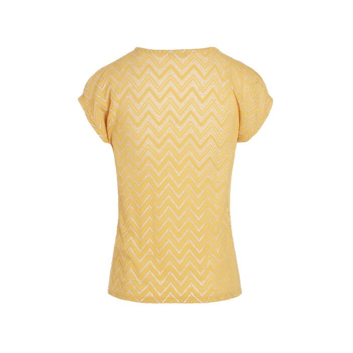 T-shirt manches courtes anneau jaune moutarde femme