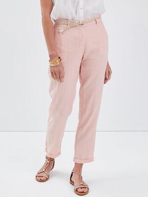 Pantalon chino taille basculee rose poudree femme