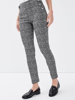 Pantalon tregging taille basculee blanc femme