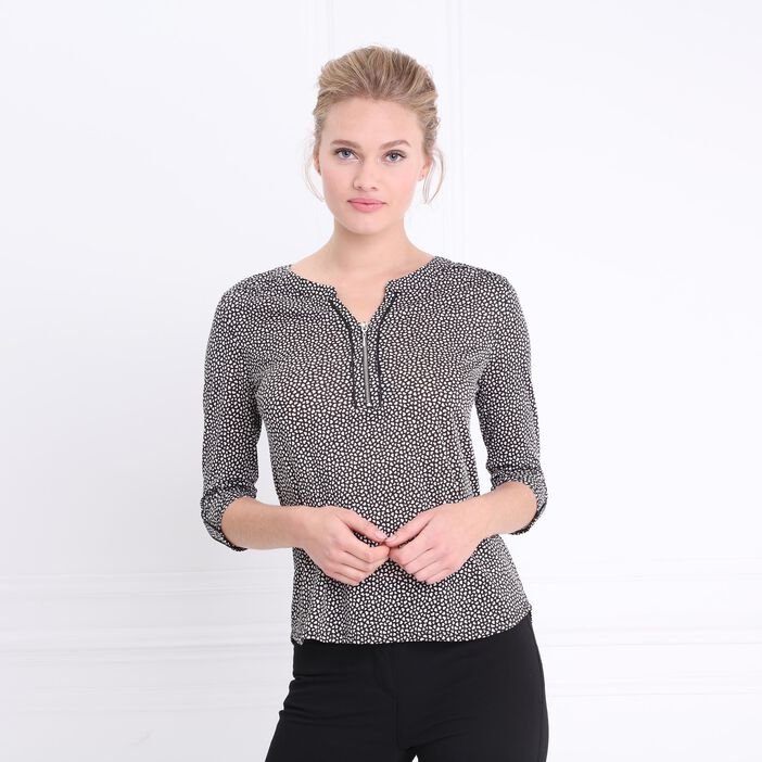 T-shirt manches 3/4 zippé noir femme