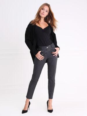 Pantalon taille haute coupe ajustee gris fonce femme