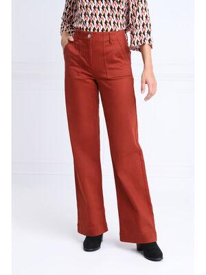 Pantalon evase taille haute marron cognac femme