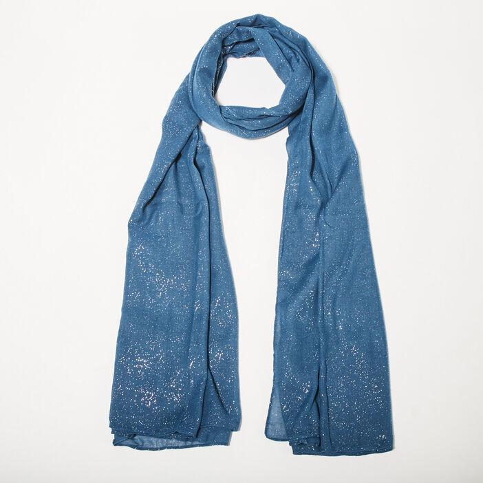Étole rectangulaire paillettes bleu pétrole femme