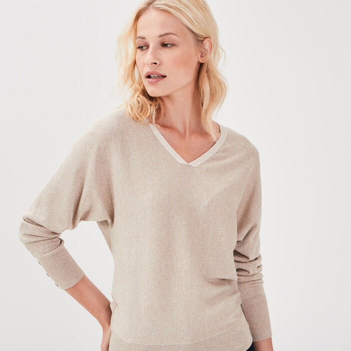 Pull manches longues couleur or femme