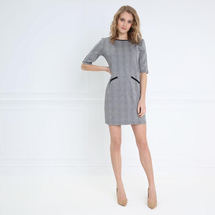 Robe droite à col rond gris foncé femme