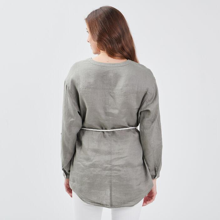 Chemise manches longues vert clair femme