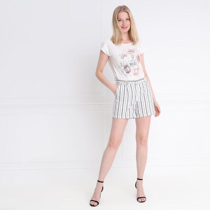 Short droit taille standard ivoire femme
