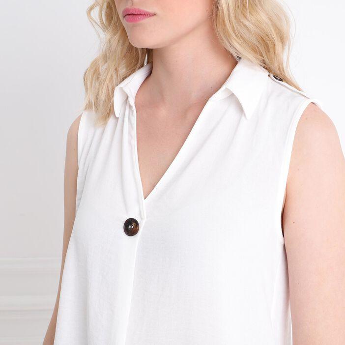 Blouse col français et bouton blanc femme