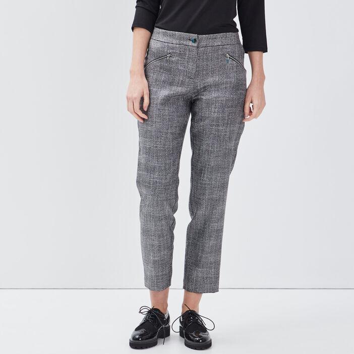 Pantalon ajusté détails zippés marron femme