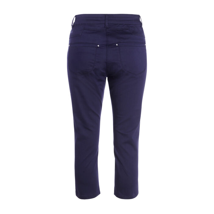Pantacourt avec details zips bleu foncé femme