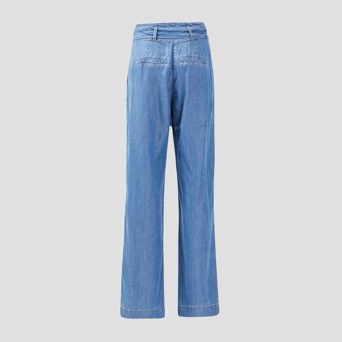 Jeans large taille haute denim double stone femme