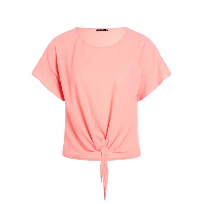 T-shirt léger à nouer devant orange corail femme