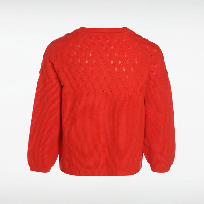 Gilet manches 3/4 col rond rouge corail femme