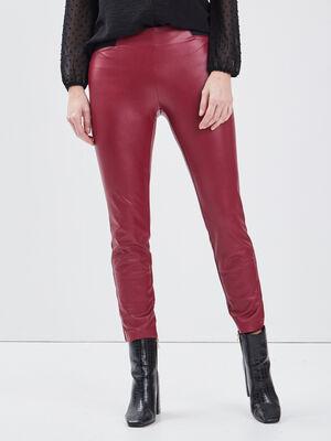 Tregging en similicuir rouge femme