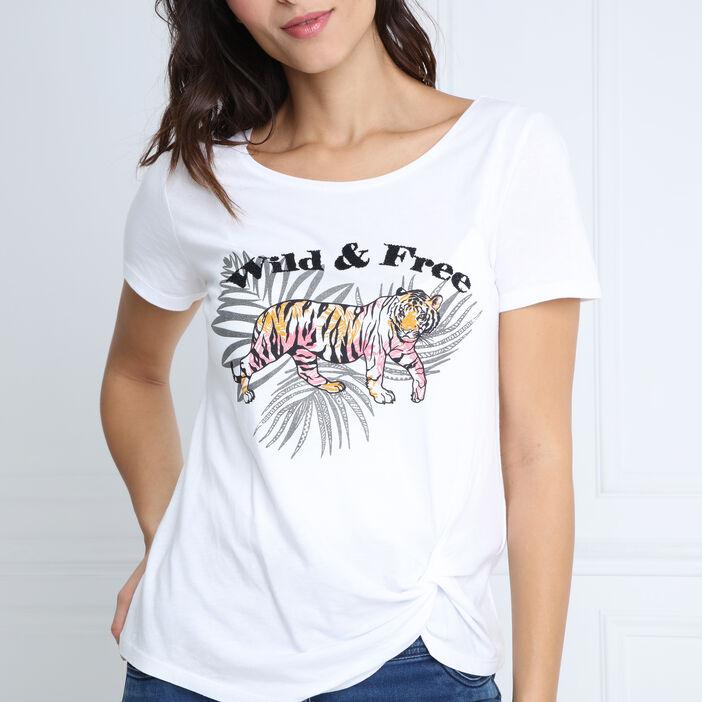 T-shirt manches courtes motif avant blanc femme