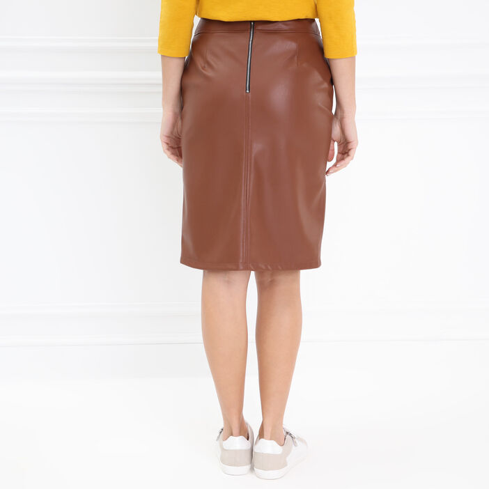 Jupe droite boutonnée marron clair femme