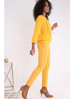 Pantalon uni a bandes laterales jaune or femme
