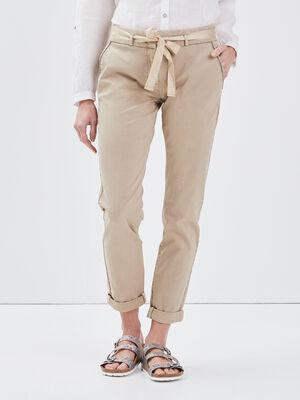 Pantalon chino ajuste ceinture beige femme
