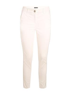 Pantalon taille haute chaines ecru femme